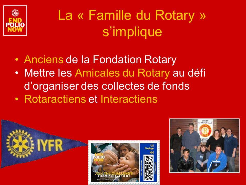 La « Famille du Rotary » simplique Anciens de la Fondation Rotary Mettre les Amicales du Rotary au défi dorganiser des collectes de fonds Rotaractiens et Interactiens