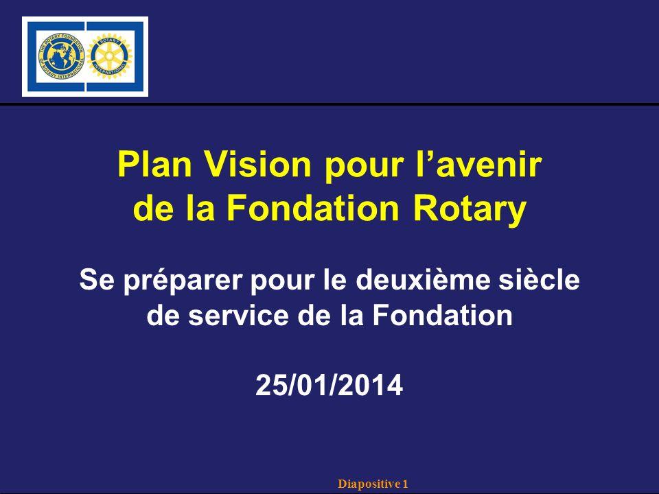 Diapositive 1 Plan Vision pour lavenir de la Fondation Rotary Se préparer pour le deuxième siècle de service de la Fondation 25/01/2014