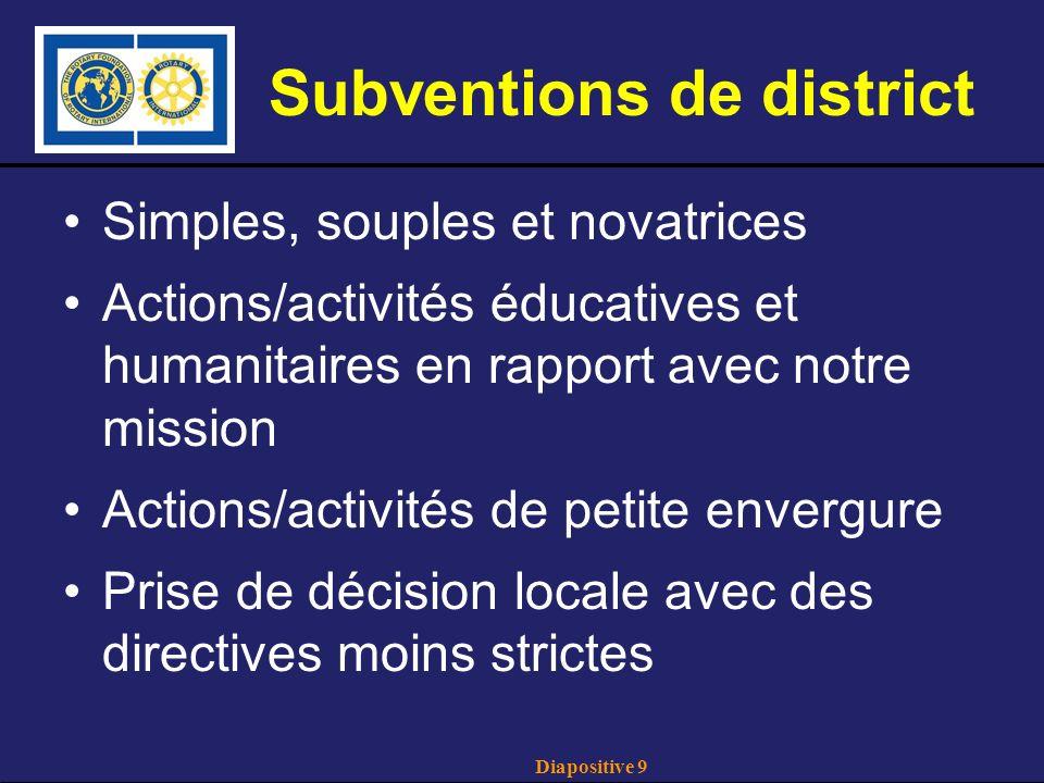 Diapositive 10 Subventions mondiales Domaines prioritaires Types de subvention ($) Subventions clé en mainSubventions de club/district Paix et prév./rés.