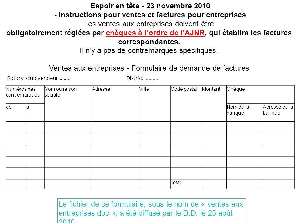 Espoir en tête - 23 novembre 2010 - Instructions pour ventes et factures pour entreprises Les ventes aux entreprises doivent être obligatoirement régl