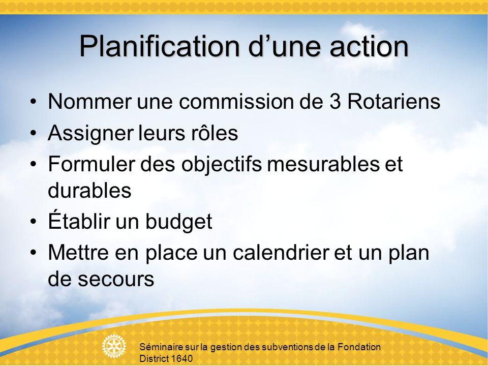Séminaire sur la gestion des subventions de la Fondation District 1640 Planification dune action Nommer une commission de 3 Rotariens Assigner leurs rôles Formuler des objectifs mesurables et durables Établir un budget Mettre en place un calendrier et un plan de secours