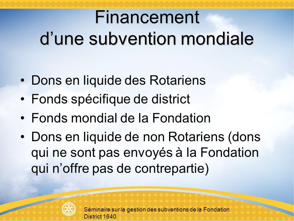 Séminaire sur la gestion des subventions de la Fondation District 1640 Financement dune subvention mondiale Dons en liquide des Rotariens Fonds spécifique de district Fonds mondial de la Fondation Dons en liquide de non Rotariens (dons qui ne sont pas envoyés à la Fondation qui noffre pas de contrepartie)
