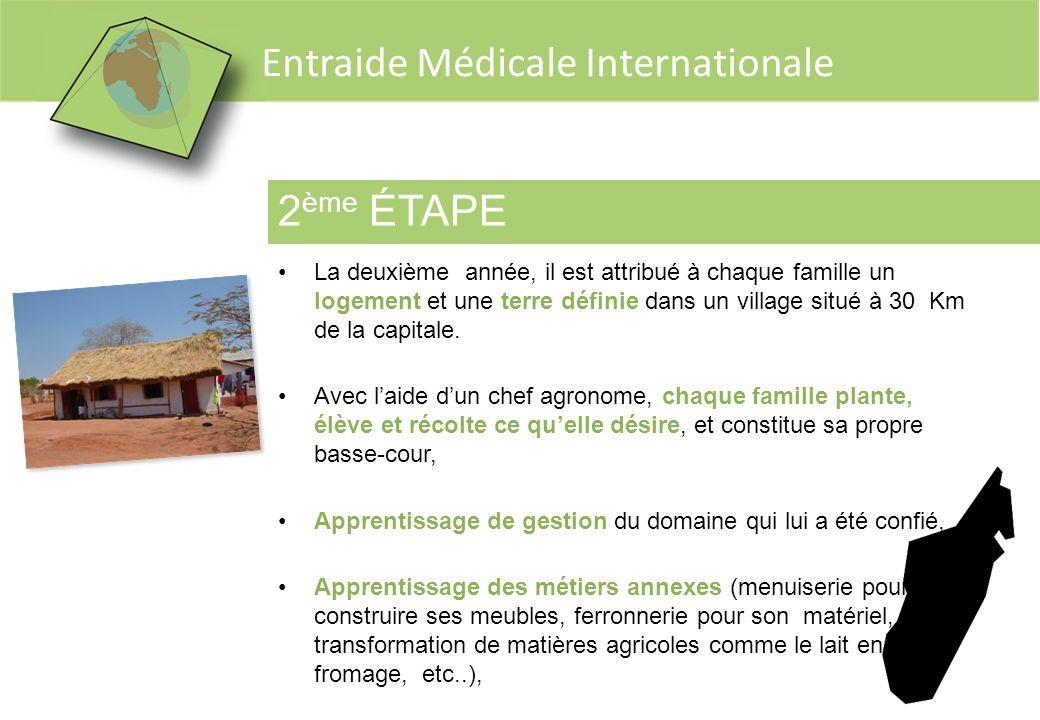 Entraide Médicale Internationale 2 ème ÉTAPE La deuxième année, il est attribué à chaque famille un logement et une terre définie dans un village situ