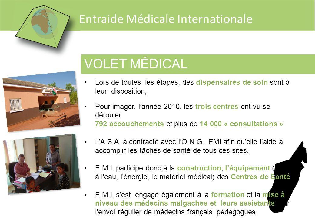Entraide Médicale Internationale VOLET MÉDICAL Lors de toutes les étapes, des dispensaires de soin sont à leur disposition, Pour imager, lannée 2010,