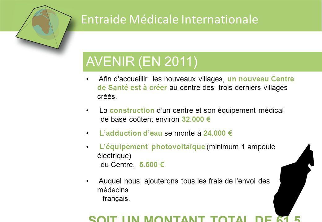 Entraide Médicale Internationale AVENIR (EN 2011) Afin daccueillir les nouveaux villages, un nouveau Centre de Santé est à créer au centre des trois d