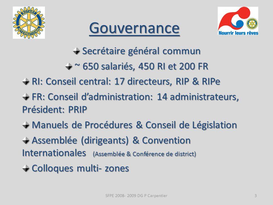Gouvernance Secrétaire général commun Secrétaire général commun ~ 650 salariés, 450 RI et 200 FR ~ 650 salariés, 450 RI et 200 FR RI: Conseil central: