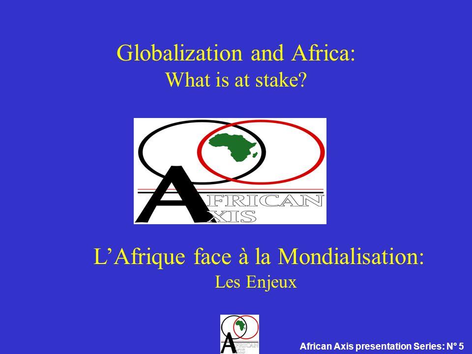 LAfrique face à la Mondialisation : Etat des lieux Secteur financier dénationalisation non planifiée Poids économique Faible (moyenne: $8 mld contre 50 mld pour les autres p.v.d; égal à celui de lArgentine, ou de la Belgique si on exclut l Afr.