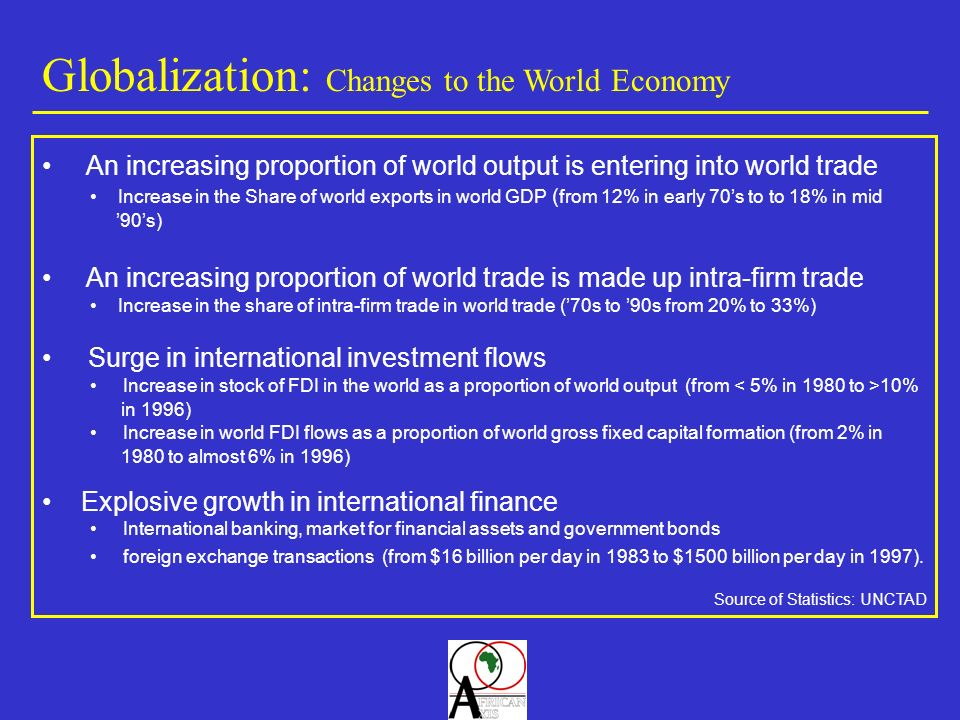 Globalization: Changes to the World Economy Source of Statistics: UNCTAD Explosive growth in international finance International banking, market for financial assets and government bonds foreign exchange transactions (from $16 billion per day in 1983 to $1500 billion per day in 1997).