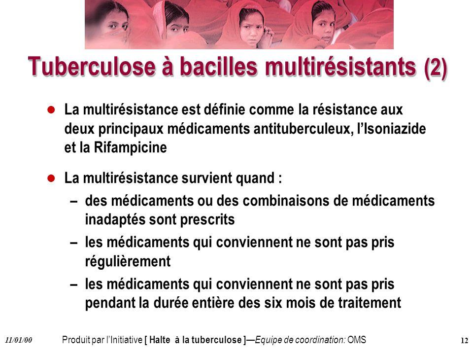 Produit par lInitiative [ Halte à la tuberculose ] Equipe de coordination: OMS 11/01/00 12 Tuberculose à bacilles multirésistants (2) l La multirésist