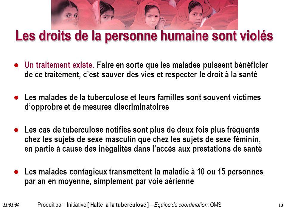 Produit par lInitiative [ Halte à la tuberculose ] Equipe de coordination: OMS 11/01/00 13 Les droits de la personne humaine sont violés l Un traiteme