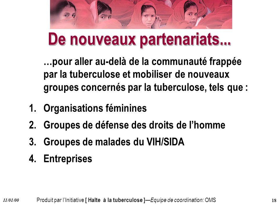 Produit par lInitiative [ Halte à la tuberculose ] Equipe de coordination: OMS 11/01/00 18 De nouveaux partenariats... …pour aller au-delà de la commu