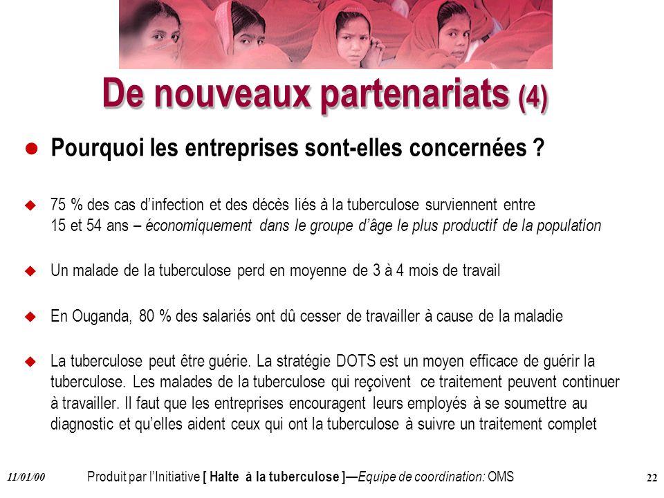 Produit par lInitiative [ Halte à la tuberculose ] Equipe de coordination: OMS 11/01/00 22 De nouveaux partenariats (4) l Pourquoi les entreprises son