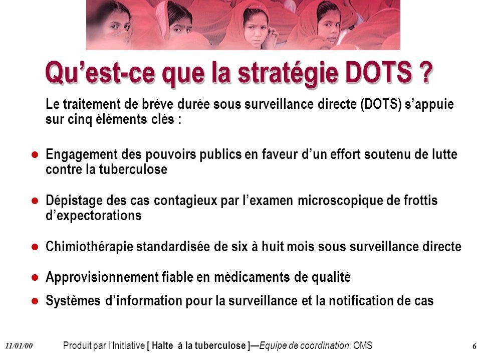 Produit par lInitiative [ Halte à la tuberculose ] Equipe de coordination: OMS 11/01/00 6 Quest-ce que la stratégie DOTS ? Le traitement de brève duré