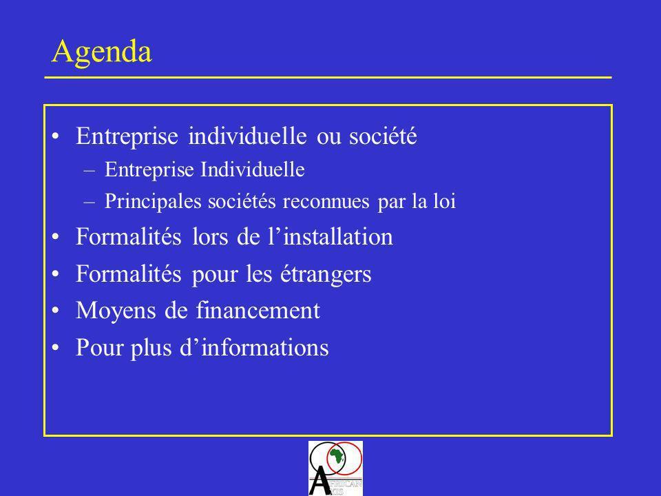 Agenda Entreprise individuelle ou société –Entreprise Individuelle –Principales sociétés reconnues par la loi Formalités lors de linstallation Formali