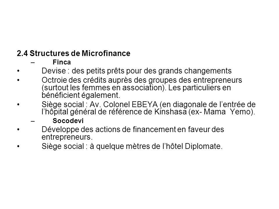2.4 Structures de Microfinance –Finca Devise : des petits prêts pour des grands changements Octroie des crédits auprès des groupes des entrepreneurs (