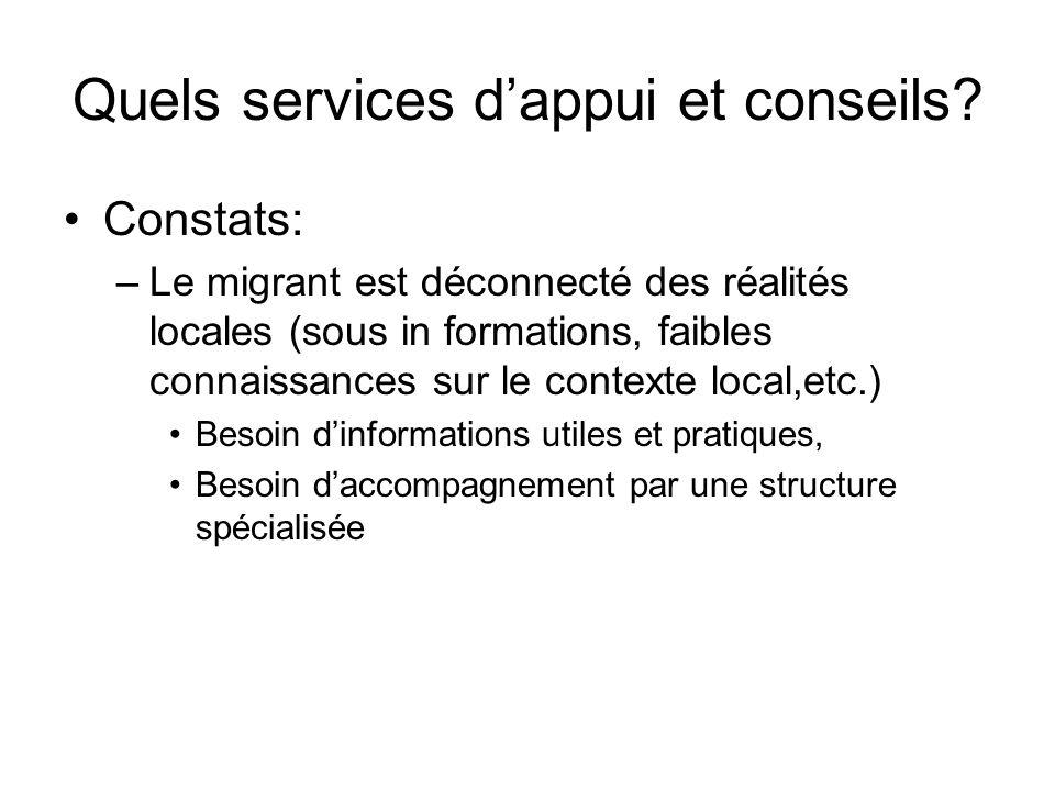 Quels services dappui et conseils? Constats: –Le migrant est déconnecté des réalités locales (sous in formations, faibles connaissances sur le context