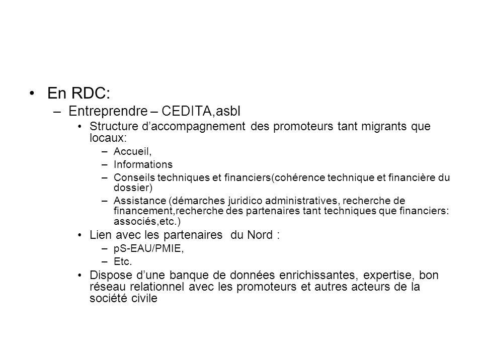 En RDC: –Entreprendre – CEDITA,asbl Structure daccompagnement des promoteurs tant migrants que locaux: –Accueil, –Informations –Conseils techniques et