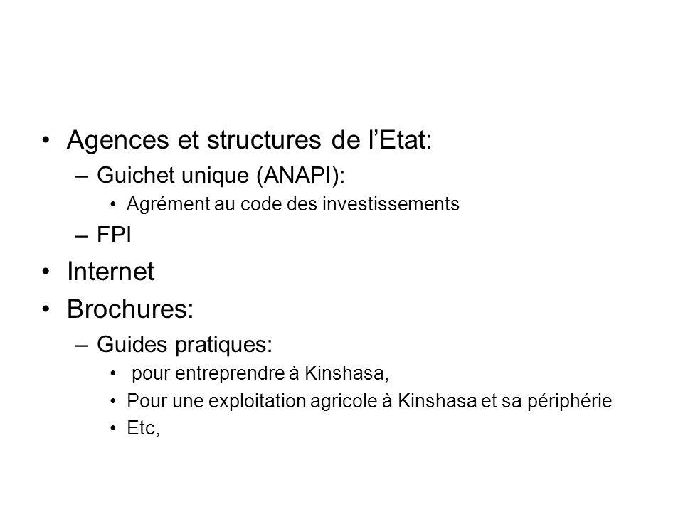 Agences et structures de lEtat: –Guichet unique (ANAPI): Agrément au code des investissements –FPI Internet Brochures: –Guides pratiques: pour entrepr