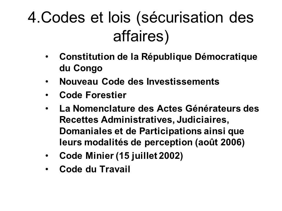 4.Codes et lois (sécurisation des affaires) Constitution de la République Démocratique du Congo Nouveau Code des Investissements Code Forestier La Nom
