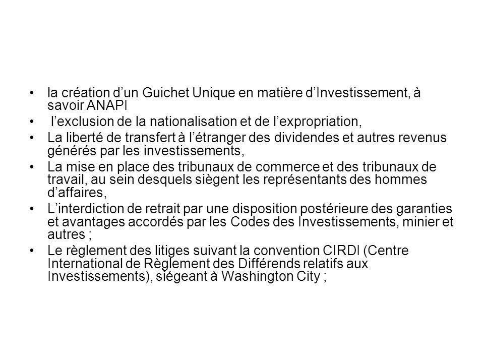 la création dun Guichet Unique en matière dInvestissement, à savoir ANAPI lexclusion de la nationalisation et de lexpropriation, La liberté de transfe