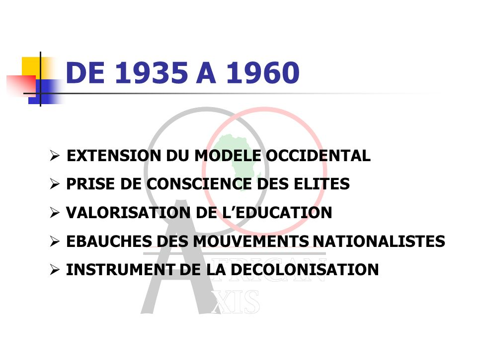 DE 1880 A 1935 IMPOSITION DU MODELE OCCIDENTAL MARGINALISATION DES AUTRES SYSTEMES FORMATION DES ELITES ACCULTURATION MARGINALISATION DES ANALPHABETES