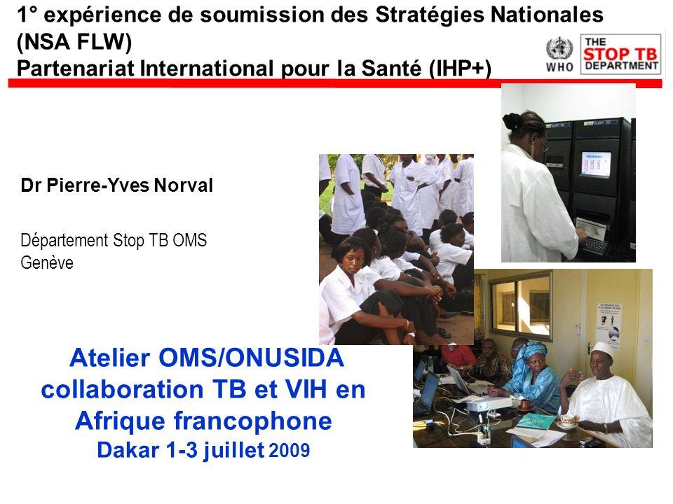 1° expérience de soumission des Stratégies Nationales (NSA FLW) Partenariat International pour la Santé (IHP+) Dr Pierre-Yves Norval Département Stop