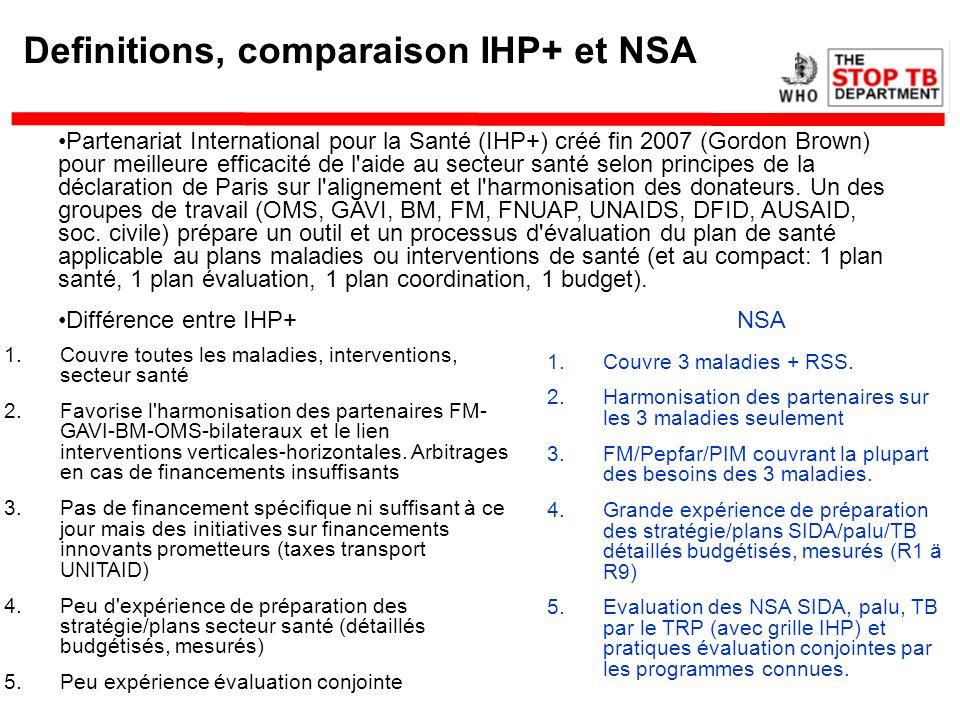 Definitions, comparaison IHP+ et NSA Partenariat International pour la Santé (IHP+) créé fin 2007 (Gordon Brown) pour meilleure efficacité de l'aide a