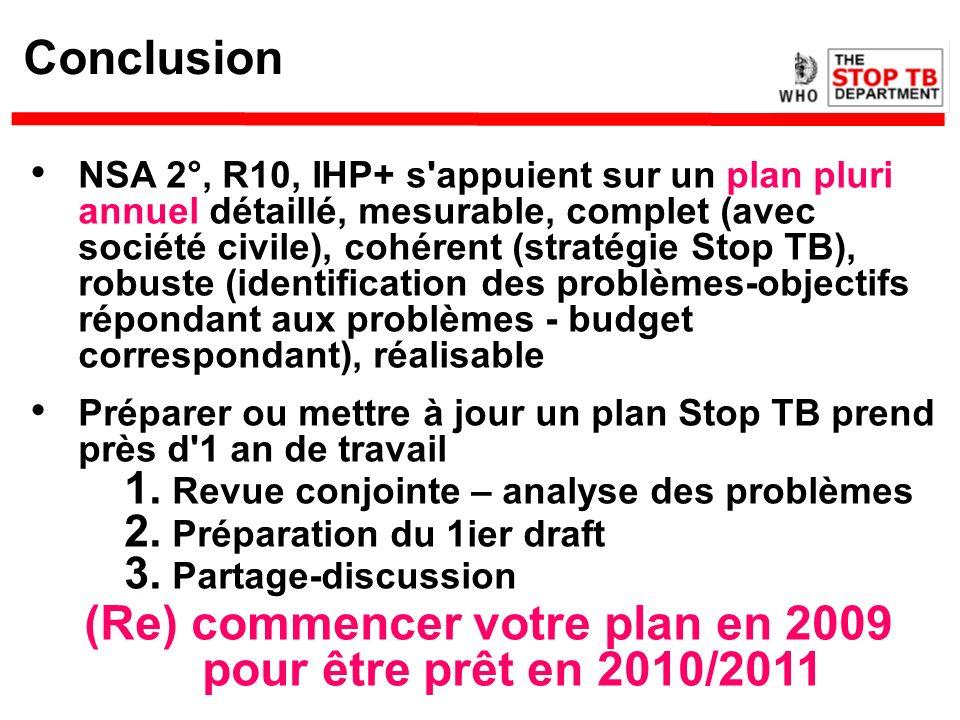 Conclusion NSA 2°, R10, IHP+ s'appuient sur un plan pluri annuel détaillé, mesurable, complet (avec société civile), cohérent (stratégie Stop TB), rob