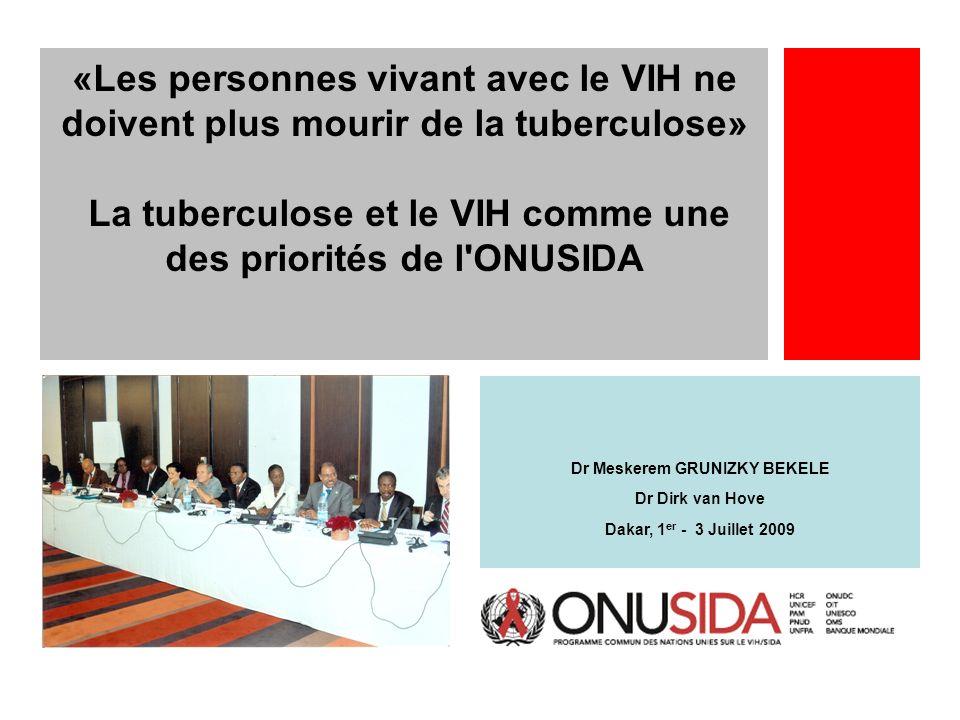 Dr Meskerem GRUNIZKY BEKELE Dr Dirk van Hove Dakar, 1 er - 3 Juillet 2009 «Les personnes vivant avec le VIH ne doivent plus mourir de la tuberculose»