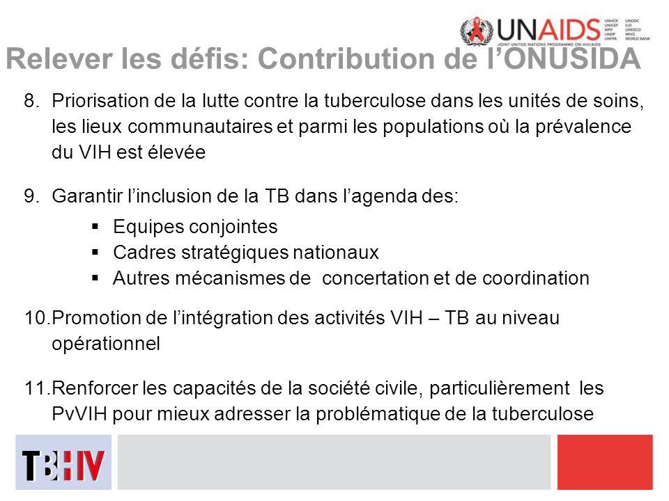 Relever les défis: Contribution de lONUSIDA 8.Priorisation de la lutte contre la tuberculose dans les unités de soins, les lieux communautaires et par