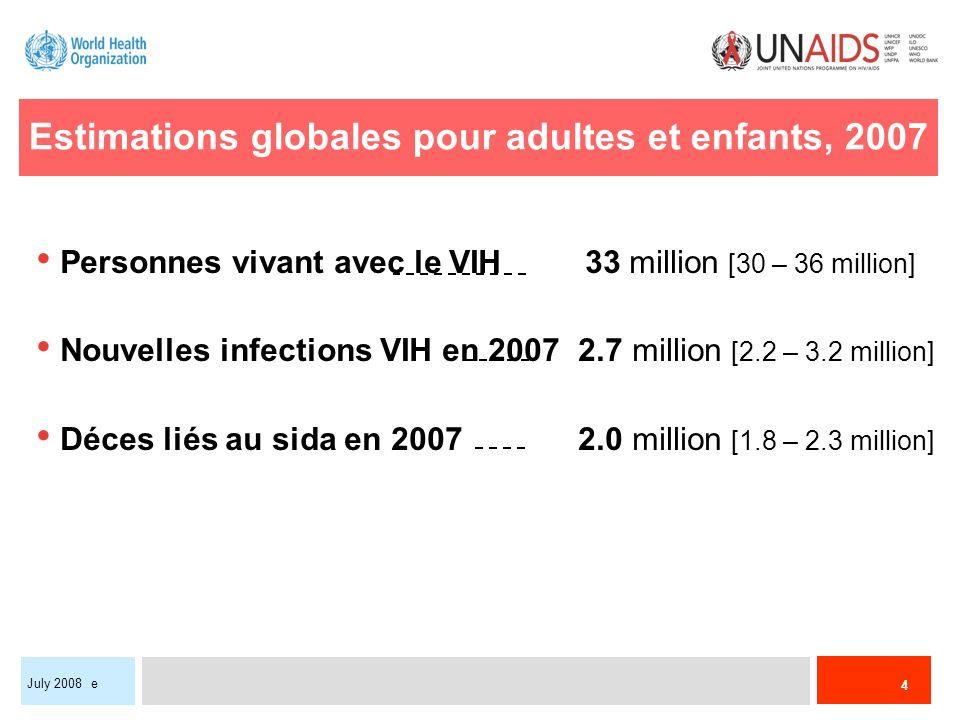 4 July 2008 e Estimations globales pour adultes et enfants, 2007 Personnes vivant avec le VIH 33 million [30 – 36 million] Nouvelles infections VIH en