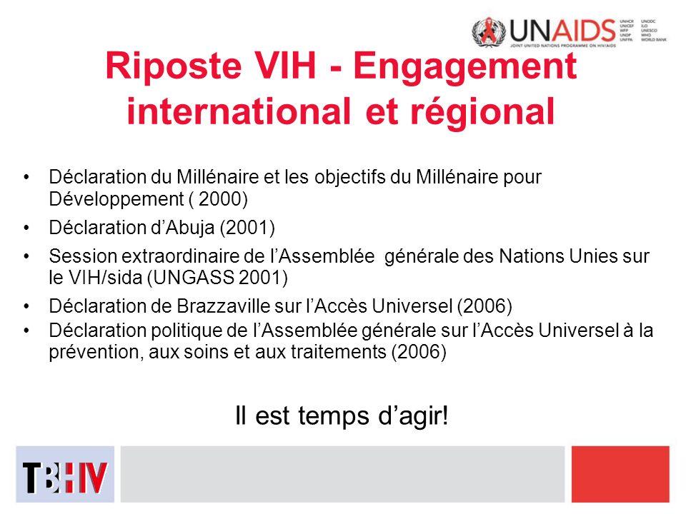 Riposte VIH - Engagement international et régional Déclaration du Millénaire et les objectifs du Millénaire pour Développement ( 2000) Déclaration dAb