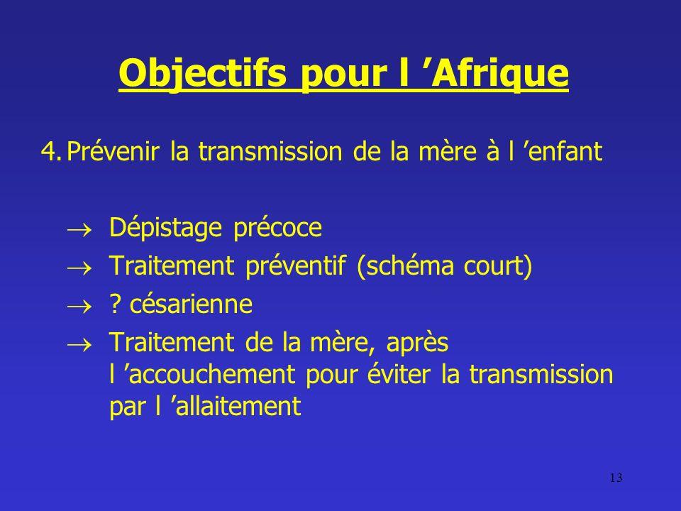 13 Objectifs pour l Afrique 4.Prévenir la transmission de la mère à l enfant Dépistage précoce Traitement préventif (schéma court) ? césarienne Traite