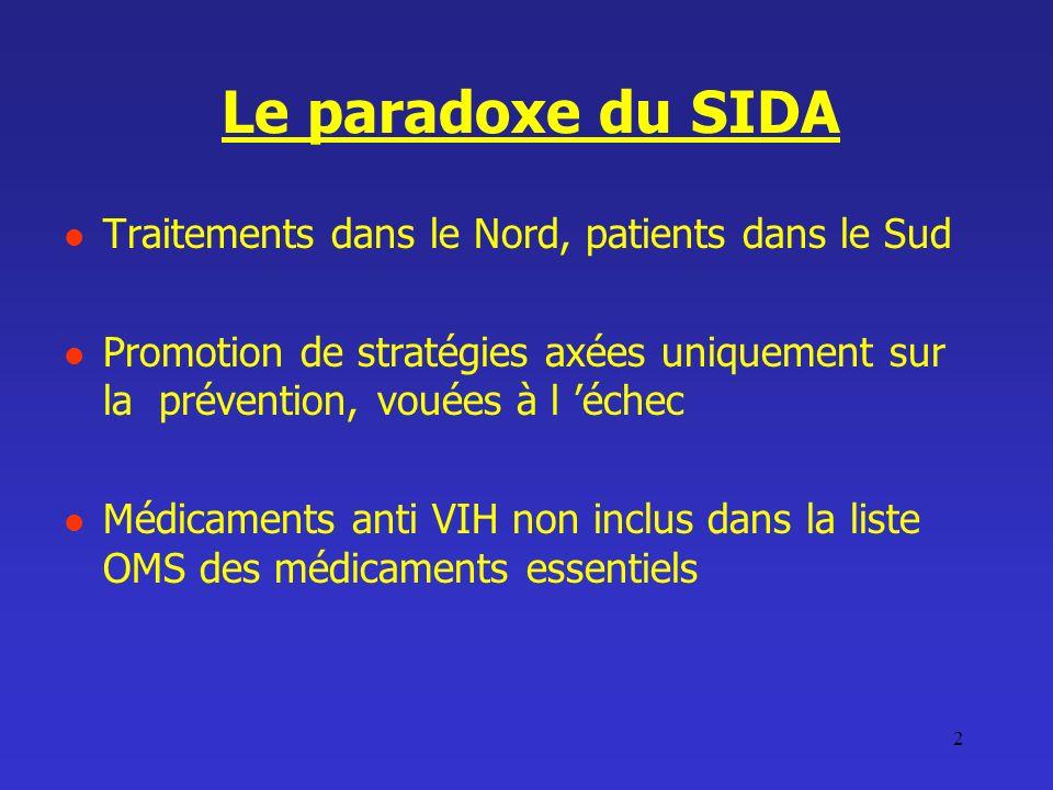 2 Le paradoxe du SIDA Traitements dans le Nord, patients dans le Sud Promotion de stratégies axées uniquement sur la prévention, vouées à l échec Médi