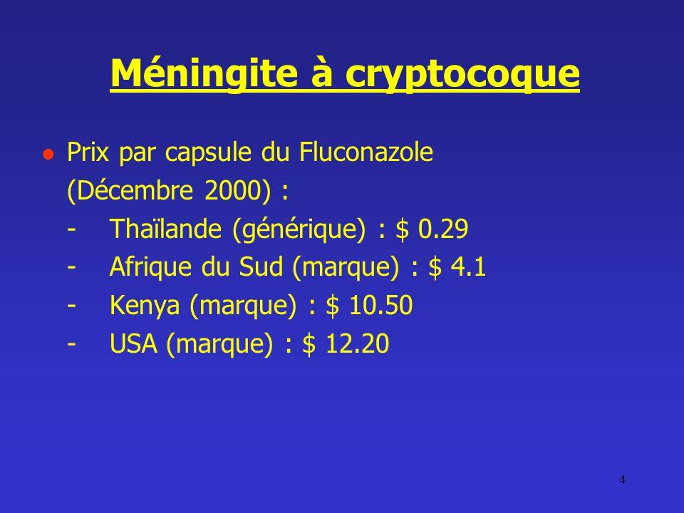 4 Méningite à cryptocoque Prix par capsule du Fluconazole (Décembre 2000) : -Thaïlande (générique) : $ 0.29 -Afrique du Sud (marque) : $ 4.1 -Kenya (m