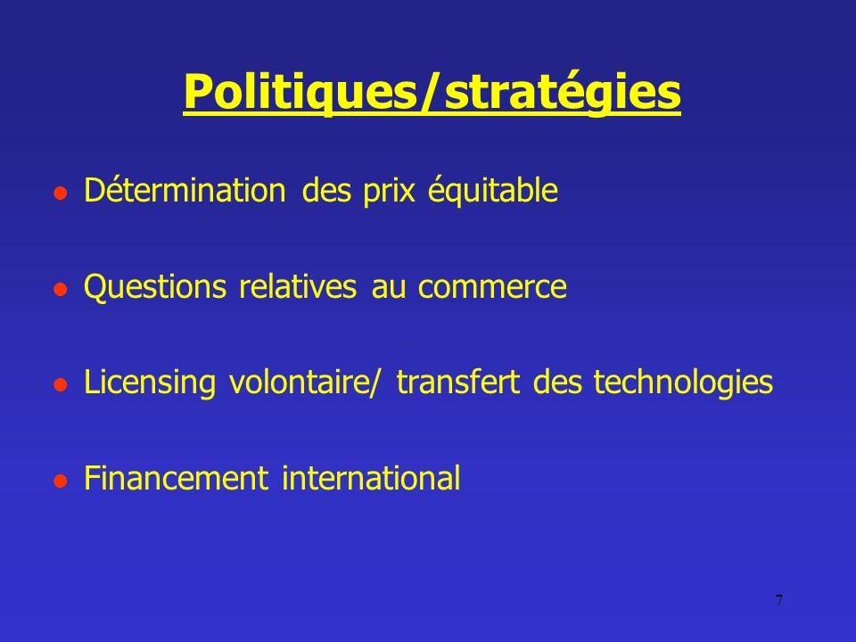 7 Politiques/stratégies Détermination des prix équitable Questions relatives au commerce Licensing volontaire/ transfert des technologies Financement