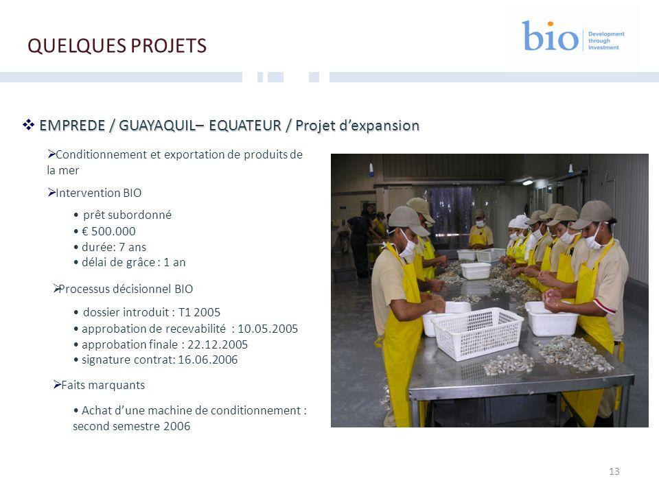 13 EMPREDE / GUAYAQUIL– EQUATEUR / Projet dexpansion Conditionnement et exportation de produits de la mer Intervention BIO prêt subordonné 500.000 dur