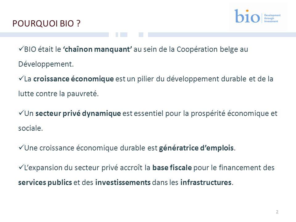2 POURQUOI BIO ? BIO était le chaînon manquant au sein de la Coopération belge au Développement. La croissance économique est un pilier du développeme