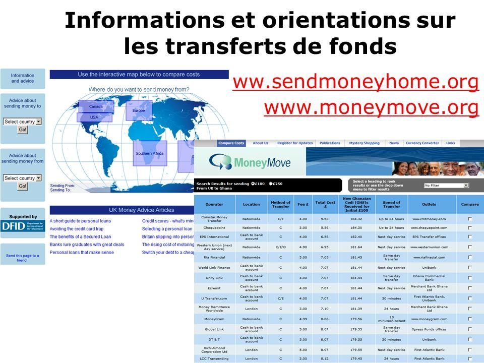 Informations et orientations sur les transferts de fonds www.sendmoneyhome.org www.moneymove.org