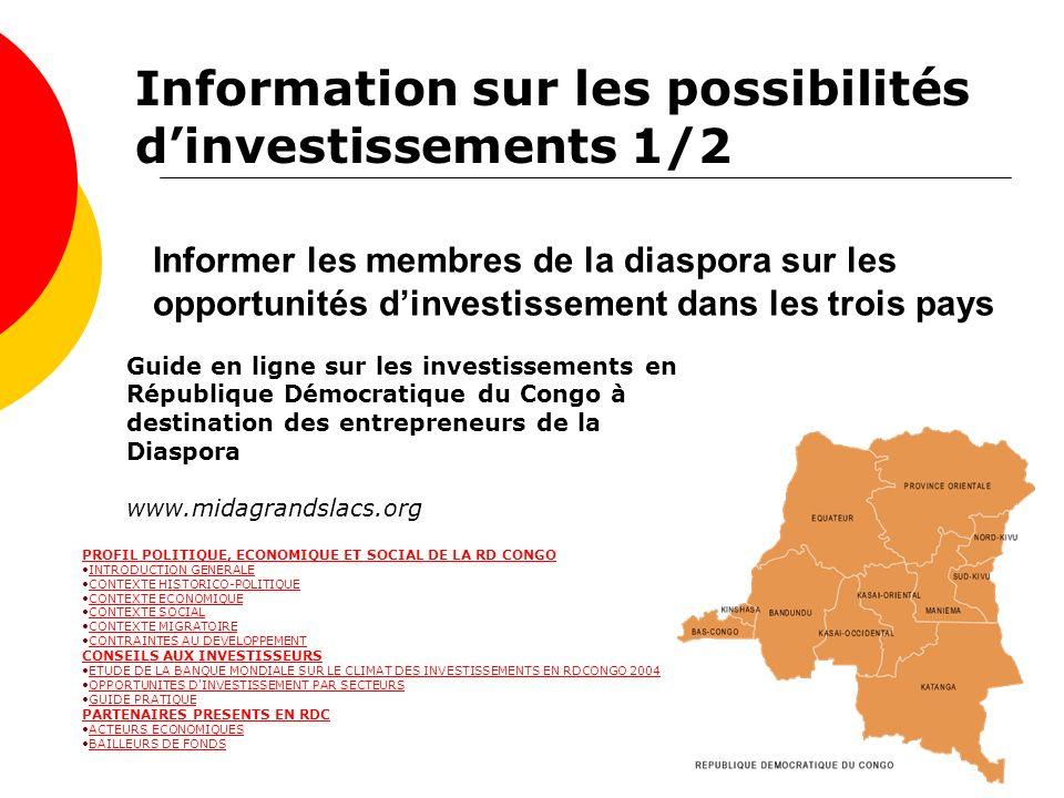 Informer les membres de la diaspora sur les opportunités dinvestissement dans les trois pays Guide en ligne sur les investissements en République Démo