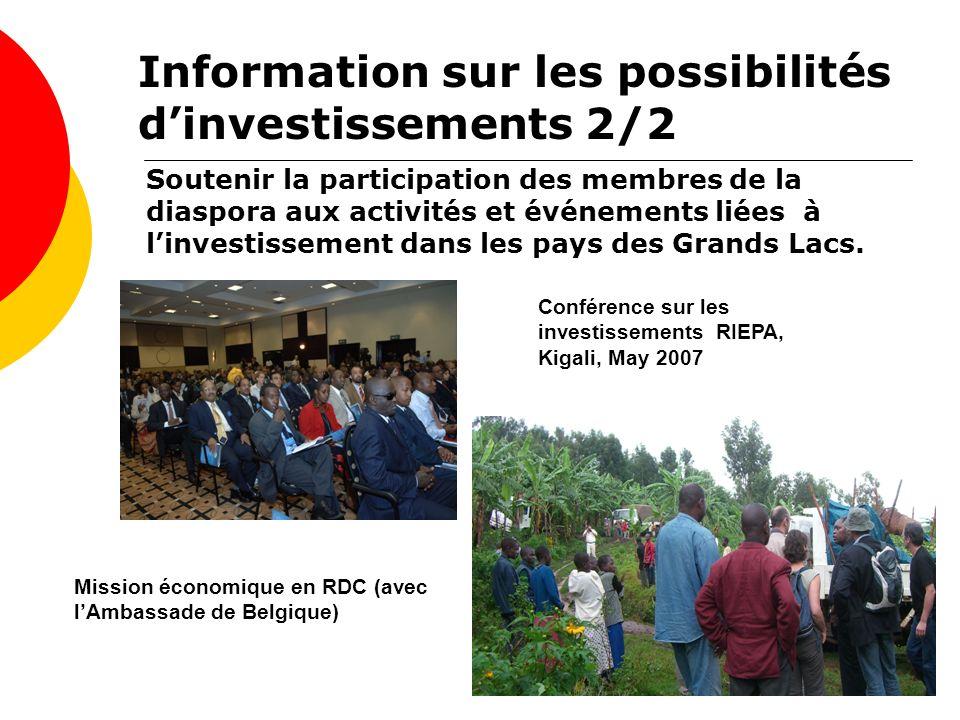 Soutenir la participation des membres de la diaspora aux activités et événements liées à linvestissement dans les pays des Grands Lacs. Conférence sur