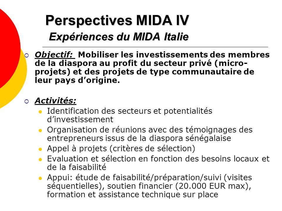 Perspectives MIDA IV Expériences du MIDA Italie Objectif: Mobiliser les investissements des membres de la diaspora au profit du secteur privé (micro-