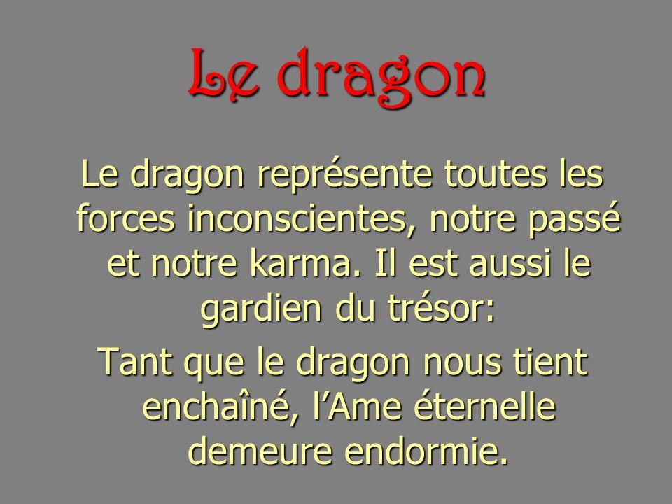Le dragon Le dragon représente toutes les forces inconscientes, notre passé et notre karma. Il est aussi le gardien du trésor: Le dragon représente to