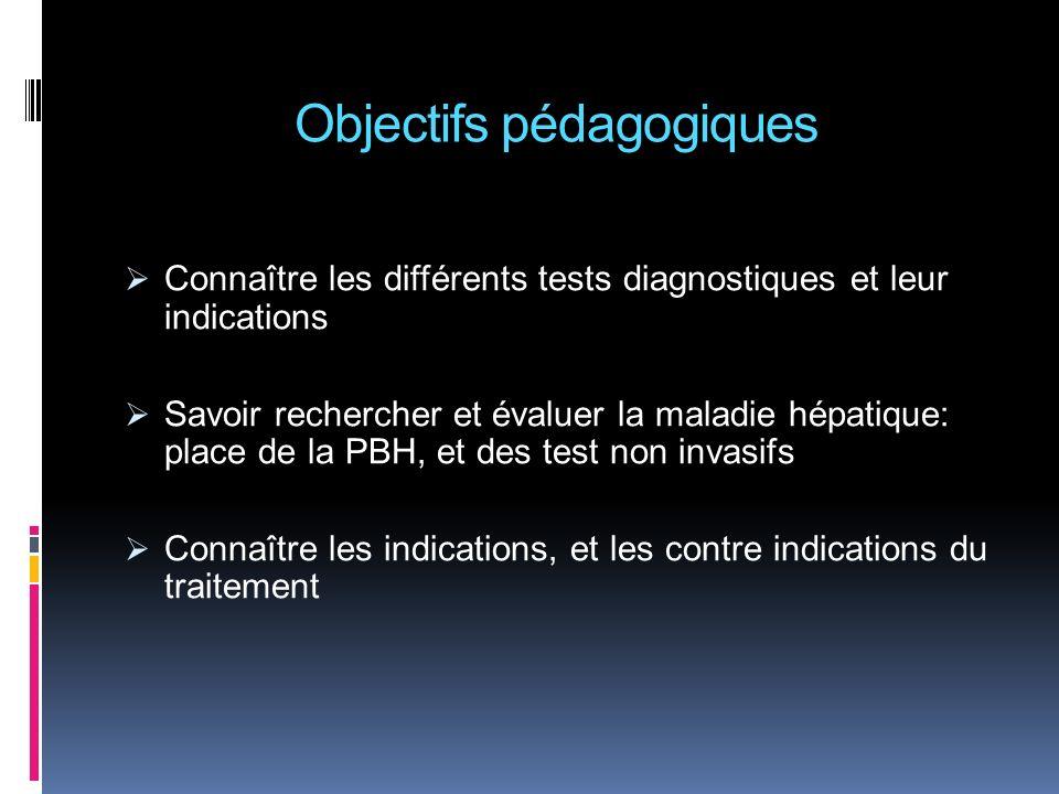 Objectifs pédagogiques Connaître les différents tests diagnostiques et leur indications Savoir rechercher et évaluer la maladie hépatique: place de la