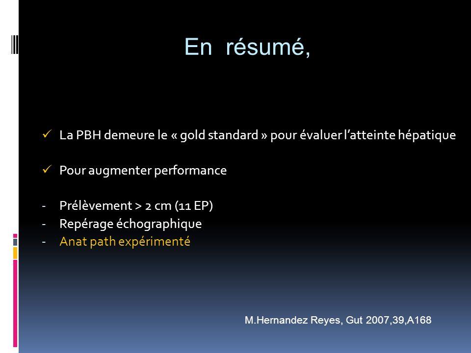 La PBH demeure le « gold standard » pour évaluer latteinte hépatique Pour augmenter performance - Prélèvement > 2 cm (11 EP) - Repérage échographique