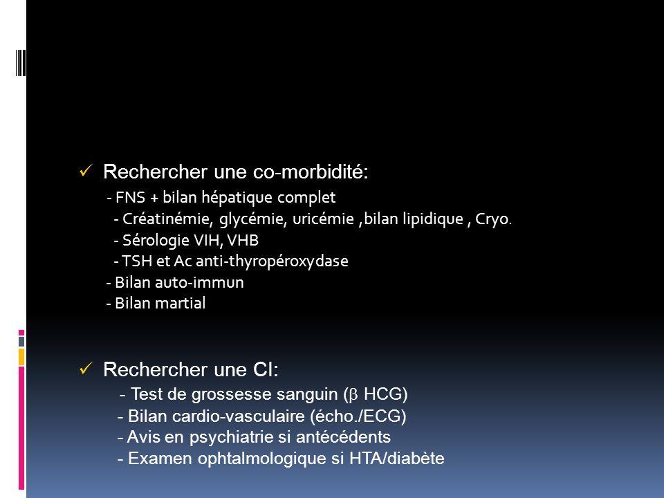 Rechercher une co-morbidité: - FNS + bilan hépatique complet - Créatinémie, glycémie, uricémie,bilan lipidique, Cryo. - Sérologie VIH, VHB - TSH et Ac