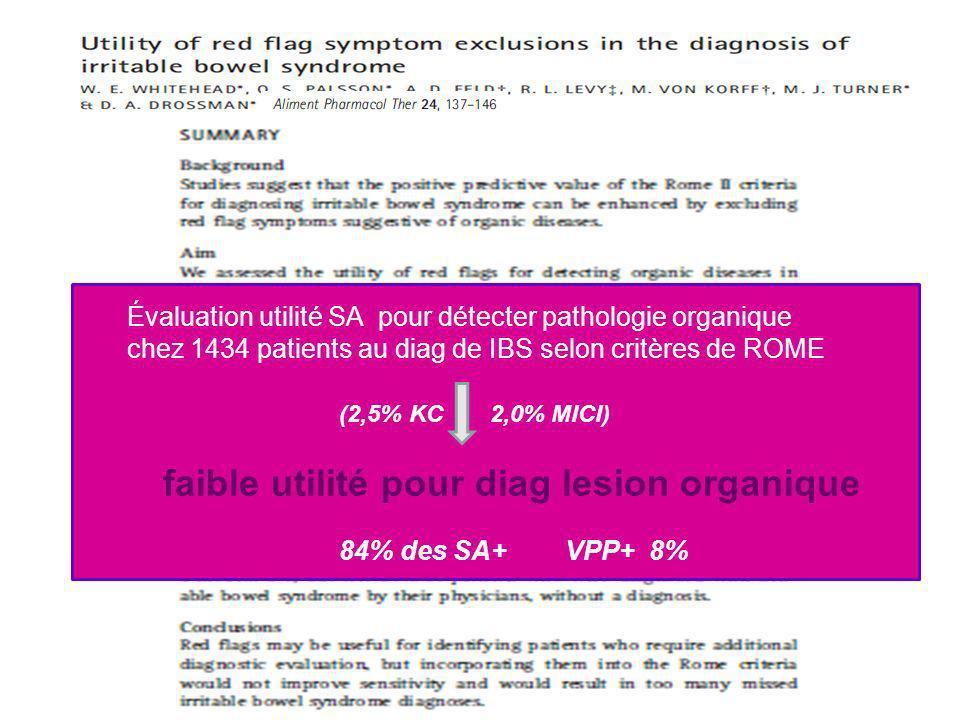 Évaluation utilité SA pour détecter pathologie organique chez 1434 patients au diag de IBS selon critères de ROME (2,5% KC 2,0% MICI) faible utilité p