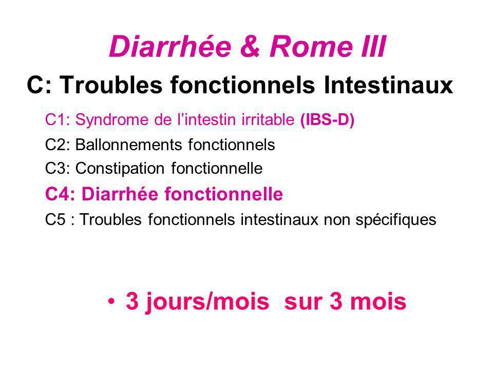 Diarrhée & Rome III C: Troubles fonctionnels Intestinaux C1: Syndrome de lintestin irritable (IBS-D) C2: Ballonnements fonctionnels C3: Constipation f
