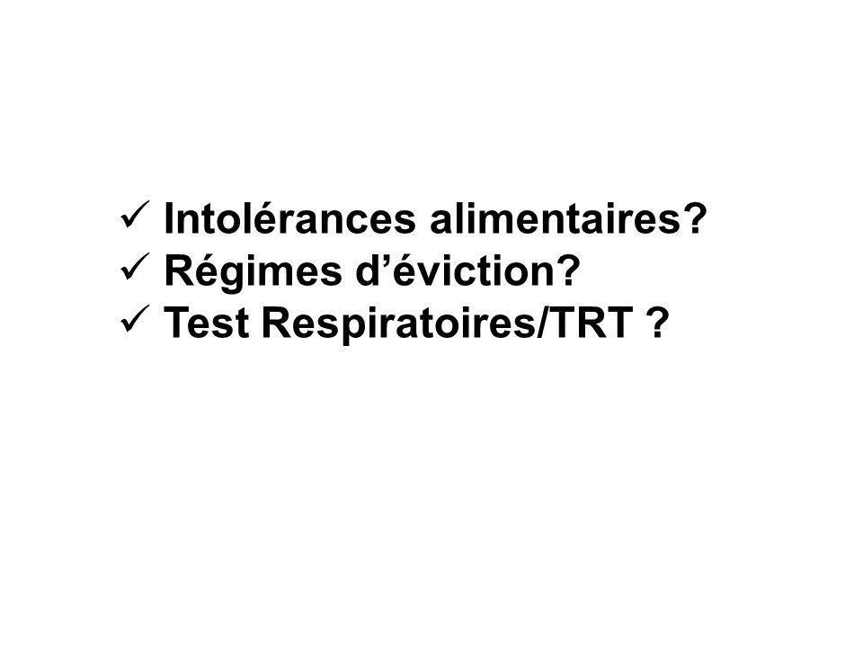 Intolérances alimentaires? Régimes déviction? Test Respiratoires/TRT ?