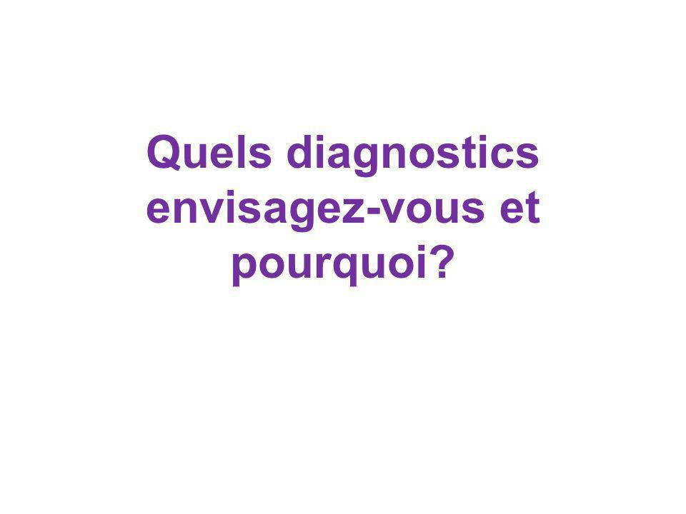 Quels diagnostics envisagez-vous et pourquoi?